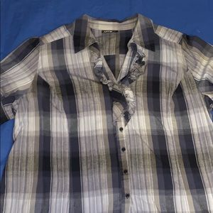 EUC Blue and Grey check blouse